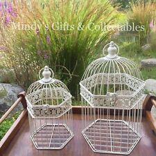 Set of 2 47cm & 38cm Cream Metal Birdcage Bird cage Garden Wedding Wishing Well