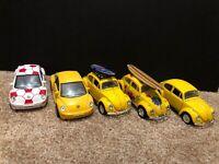 Lot Of 5 Volkswagen VW Beetle Bug Die Cast Toy Cars Kinsmart