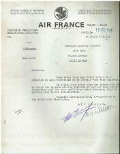 Air France - Lettre de refus billet gratuit - 13 decembre 1948