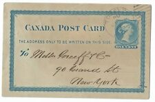 Canada 1879 1 cent Pre-printed Stationery Post Card Toronto, New York