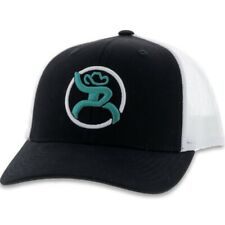 Hooey Hat Strap Roughy Black White & Turquoise Snapback Ball Cap 4029T-BKWH