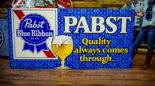 Huge Rare Vintage Pabst Blue Ribbon Metal Beer Sign 8ft by 4ft 1950's  60's era