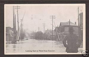 US unused 1913 Dayton Ohio Flood PPC, East on Third St.