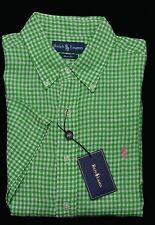 Men's RALPH LAUREN Linen Green White S/S Gingham Plaid Shirt Medium M NWoT NEW