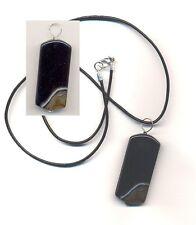 Collana con ciondolo in onice nero-bruno e argento 925