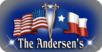 """USA Texas Flag Decal Bumper Sticker Personalize Gifts Ladies Men Blue Gray 4""""x8"""""""