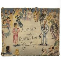 Vtg 1940s MOTHERS AND FATHERS DAY GREETINGS Greeting Card Box EMPTY