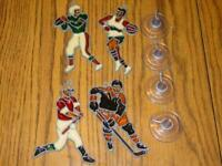 (4) VINTAGE Makit & Bakit SPORTS Christmas Ornaments Stained Glass w/Window Cups