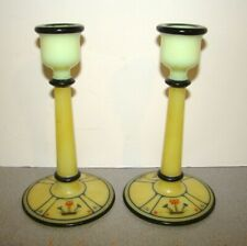 Vintage Cambridge Decorated Ivory Primrose Candlesticks