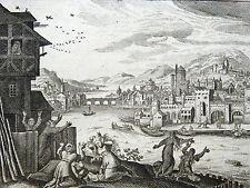 GRAVURE 18e s. Pharaon fait jeter les enfants dans le Nil BIBLE Sacy MERIAN 1770