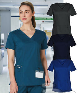 Ladies Scrubs Top Medical Beauty Health Care Nurse Spa Sizes XXS-5XL Scrub Work
