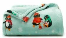 "The Big One PENGUINS Blue Supersoft Plush 60"" x 72"" Throw Blanket New"