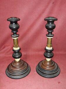 Pair Antique Swedish Arts & Crafts  Candlesticks