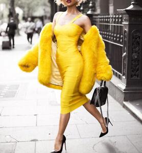 Charcoal Fashion Women's Yellow Collarless Midi Faux Fur Coat