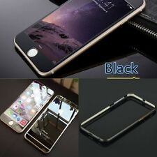 COMBO For Apple iPhone 6 Black Tempered Glass + Bumper Case + Home Button Ring