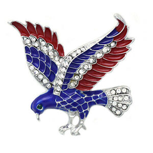 4th of July USA American Flag Patriotic Spirit Eagle Brooch Pin Jewelry Gift