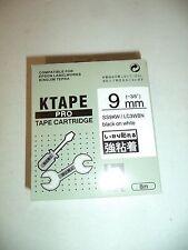"10 K-Sun SS9KW LC3WBN Black WHITE Tape 3/8"" K Sun 9mm EPSON COMPATIBLE KTAPE"