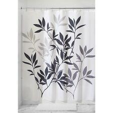 Zen Leaf Fabric Shower Curtain Black Gray White Bathroom Contemporary Decor Bath