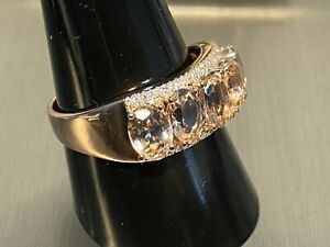 585 RG Gold Ring 5 x AAA Morganit  ca 3.50 ct. 46 x Brillant weiß P1 0.13 ct