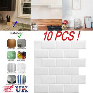 10x 3D Tile Brick Kitchen Wall Sticker Self-adhesive Waterproof Mosaic Bathroom
