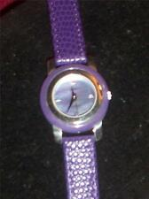 Aria Sterling Silver Case Watch Genuine Purple Leather Band NEW