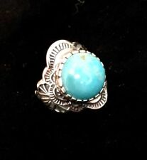 .925 Southwestern Sterling Silver Turquoise Ring Genuine Turquoise Ring SZ 7