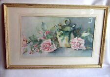 1920s Pink Rose Watercolor Painting Shabby Chic Matted and Framed Still Life