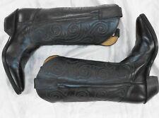 TONY LAMA * WORN ONCE * womens BLACK leather CLASSIC STYLE Cowboy Boots SZ 7 B