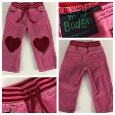 Mini Boden Girls 2 3 Heart Patch Pants Corduroy Pink Red Vintage