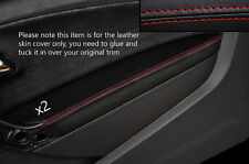 RED Stitch 2x Porta BRACCIOLO PELLE COPERTURA Adatta per VW Polo MK8 09-15 3 PORTE