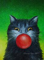 Original ACEO ART oil painting cute black cat portrait surreal miniature