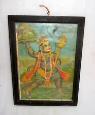 Vintage Old Collectible Hindu God Hanuman With Sanjivani Hill Rare Litho Print
