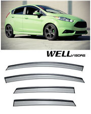 WellVisors Side Window Visors W/ Black Trim For 11-16 Ford Fiesta Hatchback 4Dr