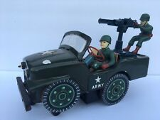 VINTAGE MODERN TOYS JAPAN GUN JEEP BATTERY OPERATED, FULLY WORKING