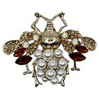GORGEOUS VINTAGE STYLE ART DECO AB TOPAZ CRYSTAL & FAUX PEARL BEE BROOCH PIN