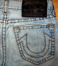ORIGINAL TRUE RELIGION BOBBY SUPER T USED-JEANS STRAIGHT-CUT BLUE W 33/32 RICKY