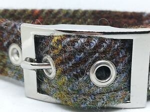 Dog Collar Brown Blue & green  - McLeod check Harris Tweed Lead also available