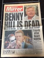 Benny Hill Obituary Front Page Tv Celebrity Newspapers Daily Mirror 21/04/1992