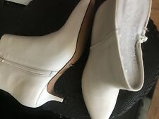White Ivory Leather Booties