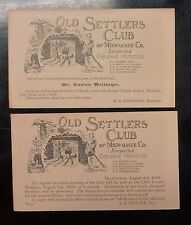 {BJSTAMPS} OLD SETTLERS CLUB of Milwaukee Co.Obituary Postal Card LOT of 2