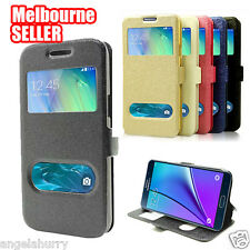 Genuine AU Swipe Anwser S-View Flip Case Cover For Samsung Galaxy Note 5