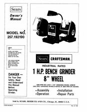 "Craftsman 257.192190 1 HP Bench Grinder (8""x1""x5/8"") Instructions FREE SHIPPING"