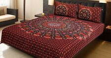 Handmade Queen Size 100%Cotton Bed Sheet Bed Spread With Two Pillow Cover