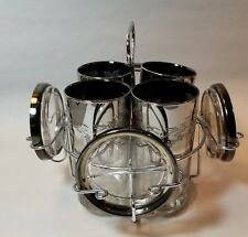 Mid Century Modern Rose Scroll Silver Fade Bar And Coaster Set With Rack