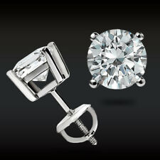 1.90CT BRILLIANT DIAMOND EARRINGS REAL 14K WHITE GOLD ROUND SOLITAIRE STUDS VVS1