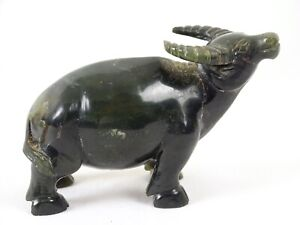 Vintage Chinese Hand Carved Greenstone Buffalo Figure China Mid 20thC