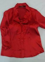 "75% OFF CLOSEOUT!!! ""THE LIMITED"" SILK BLEND CAREER BOW BLOUSE RUBY RED - NEW"