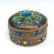The Bombay Company Beaded Trinket Jewelry Box Metal Tin Brown Blue Green
