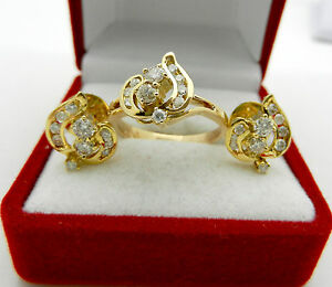Solid 585 (14k) Yellow Gold Jewelry Set Natural Diamonds 1.05 tcw Earrings Ring