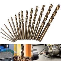 set 15 Punte trapano cobalto a ferro 1.5-10mm HSS M35 Cobalt Twist Drill Bit